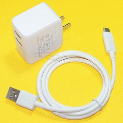 Dual USB Power Adapter Charger+Type-C 3.1 Cable For Samsung