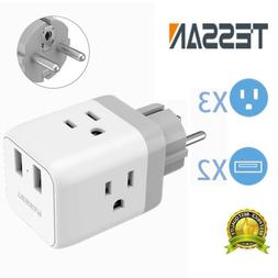 France Germany Travel Power Plug Adapter with 2 USB Ports +