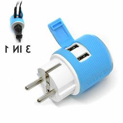 OREI Germany, France, Schuko Travel Plug Adapter - Dual USB