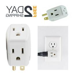 Grounded 3 Way Outlet Plug Multi Power Handy Extender Adapte