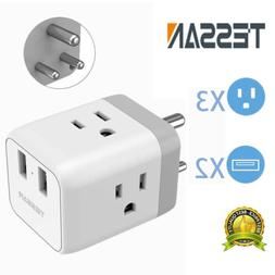 India Nepal Travel Power Adapter with 3 US Outlets and 2 USB