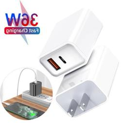 For iPad iPhone 11/12 Pro Max 36W USB Type-C Wall Fast Charg