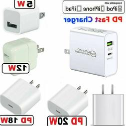 For iPhone 12/11/12 Pro Max/XR/iPad Fast Charger 20W/18W PD
