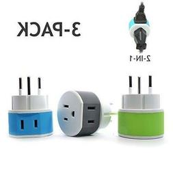 Israel, Palestine Power Plug Adapter by OREI with 2 USA Inpu