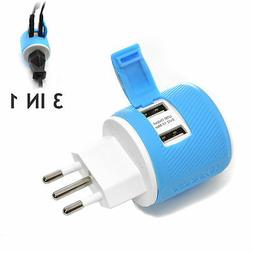 OREI Italy, Uruguay Travel Plug Adapter - Dual USB - Surge P