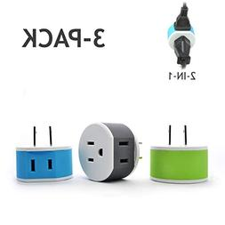 Orei US-6 Japan, Philippines Travel Plug Adapter - 2 USA Inp