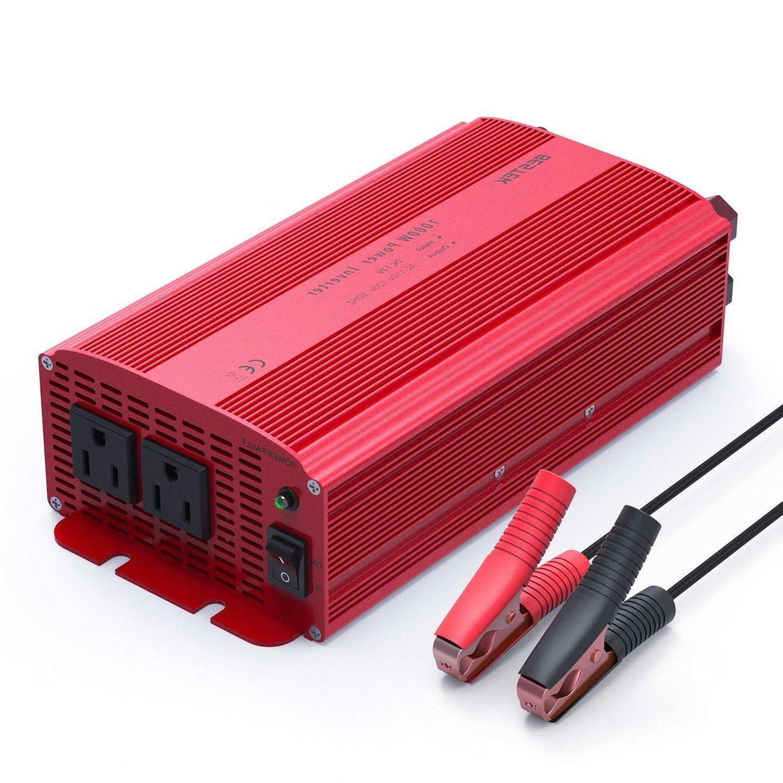 BESTEK 1000W Power Inverter, Dual AC Outlets, 12V to 110V/12