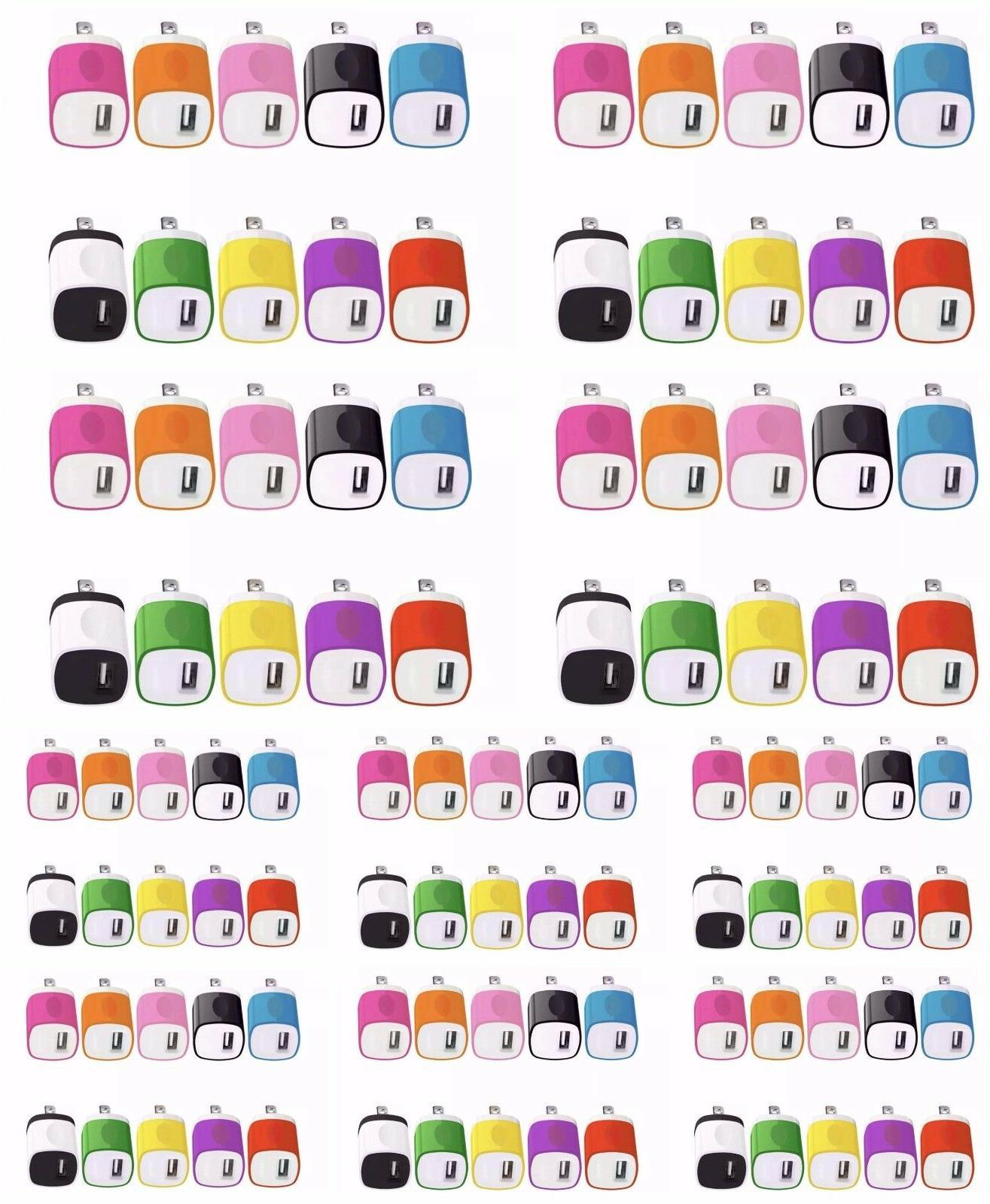 100x Color USB Wall Charger Plug Home Power Adapter US Outle