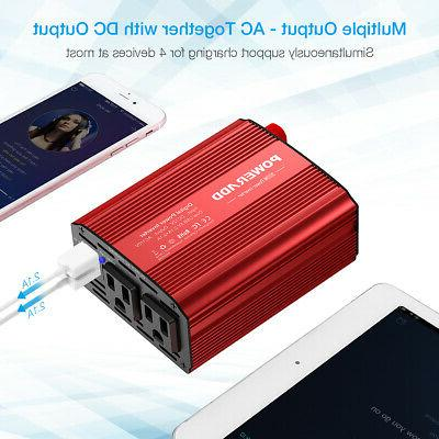 12V DC to 110V AC 300W Power Inverter Dual USB Outlets Auto Truck