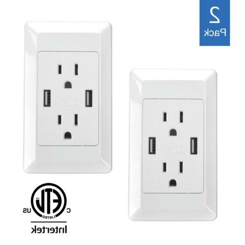2 PK USB Wall Socket Charger AC/DC Home Power Adapter Plug i