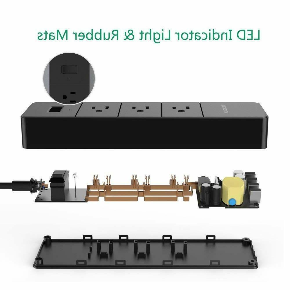 TESSAN Outlets Surge Protector Travel Strip 4 USB EU/UK/Italy/HK