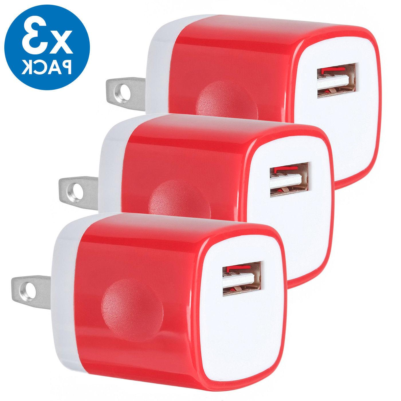 3-PACK USB Wall Charger AC Adapter US Plug FOR iPhone 8 Xs Samsung LG