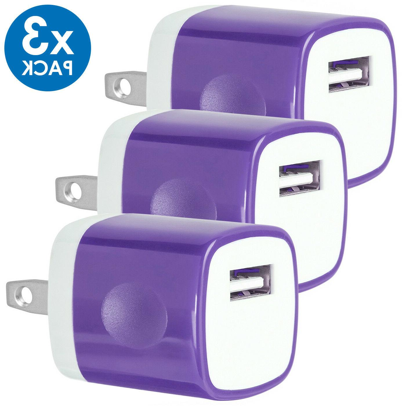 3-PACK USB Wall Charger AC Adapter US Plug iPhone 8 X Xs LG