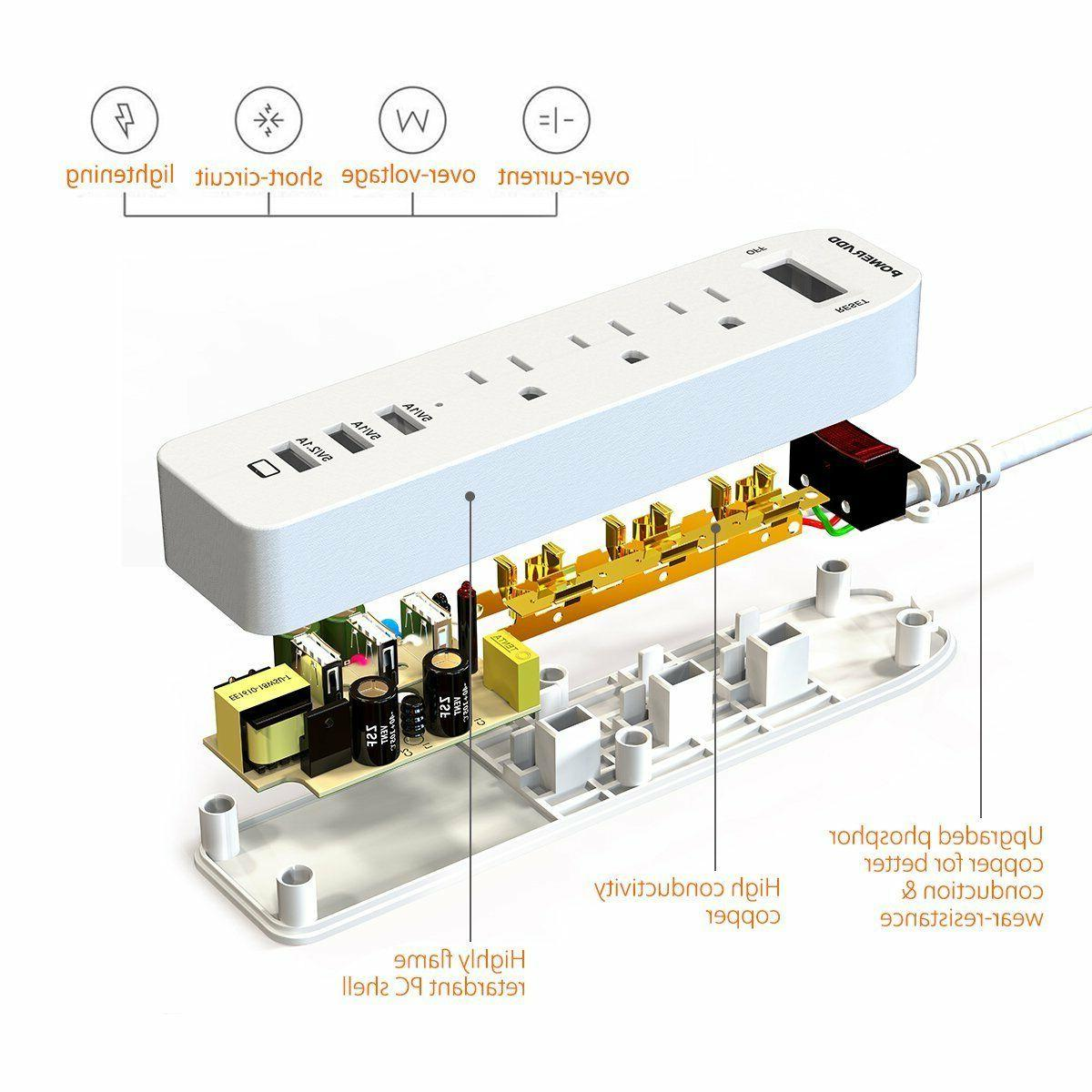 Poweradd Outlet Power Strip 3 USB Adapter