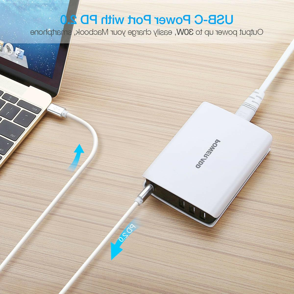 30W C QC3.0 Travel Charger 3 Charging AC Adapter