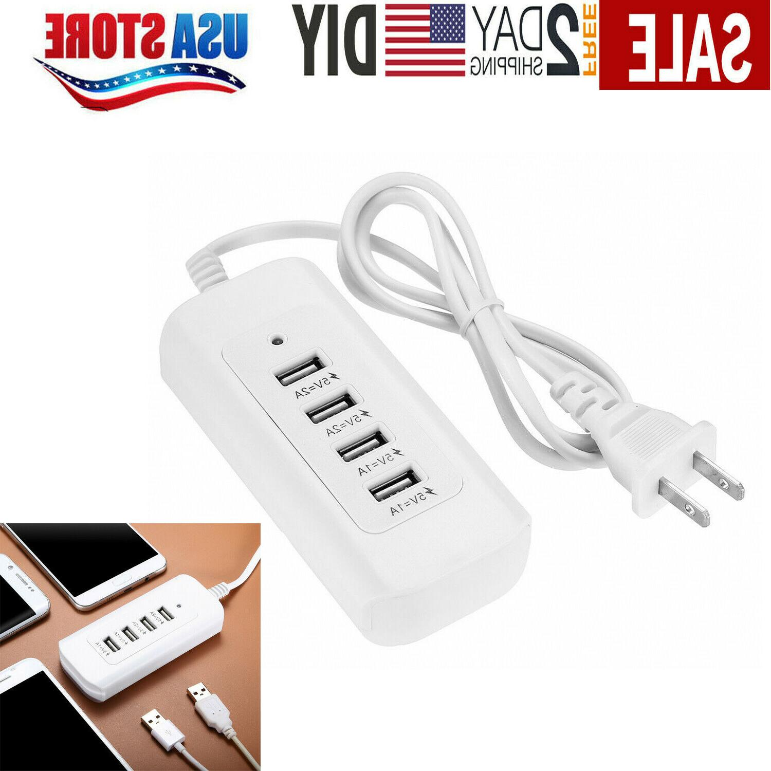 4 Multi-Port USB Desktop Wall Charger Fast Charging Station
