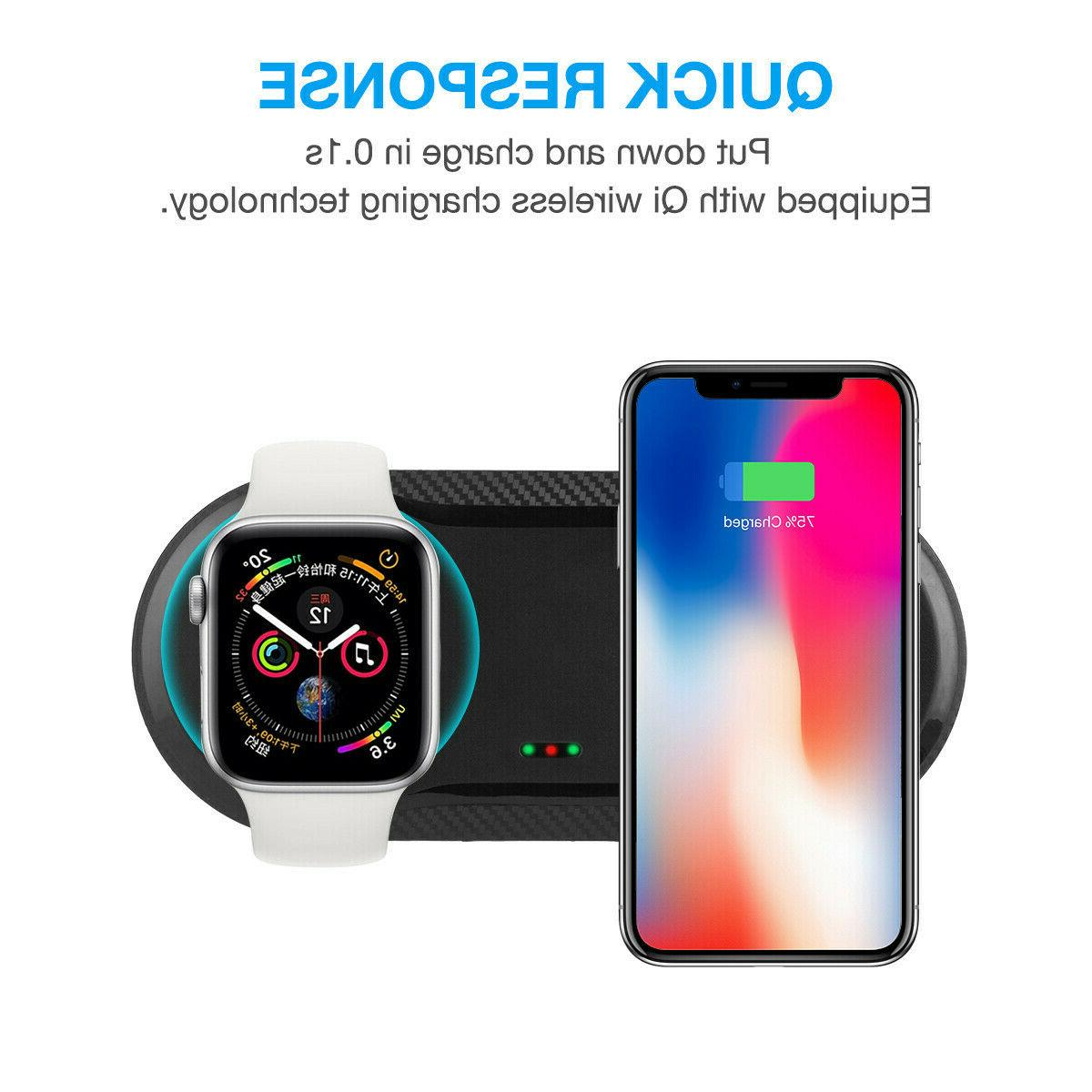 2 IN 1 Wireless Qi Charger Fast Charging Dock Pad for iWatch