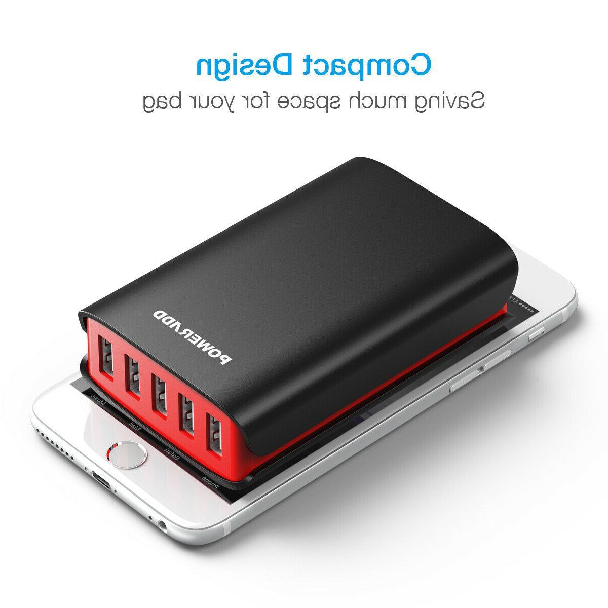 40W 5 Ports USB Hub Smart AC Charging Power Adapter US