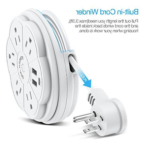 Poweradd Power Strip Outlet Dual and Strip Retractable Cord, 125V/13A, 3.3ft