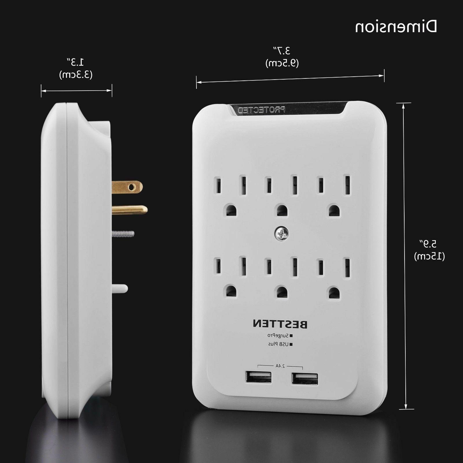 6 Outlet Surge Wall Tap Adapter Power Plug,