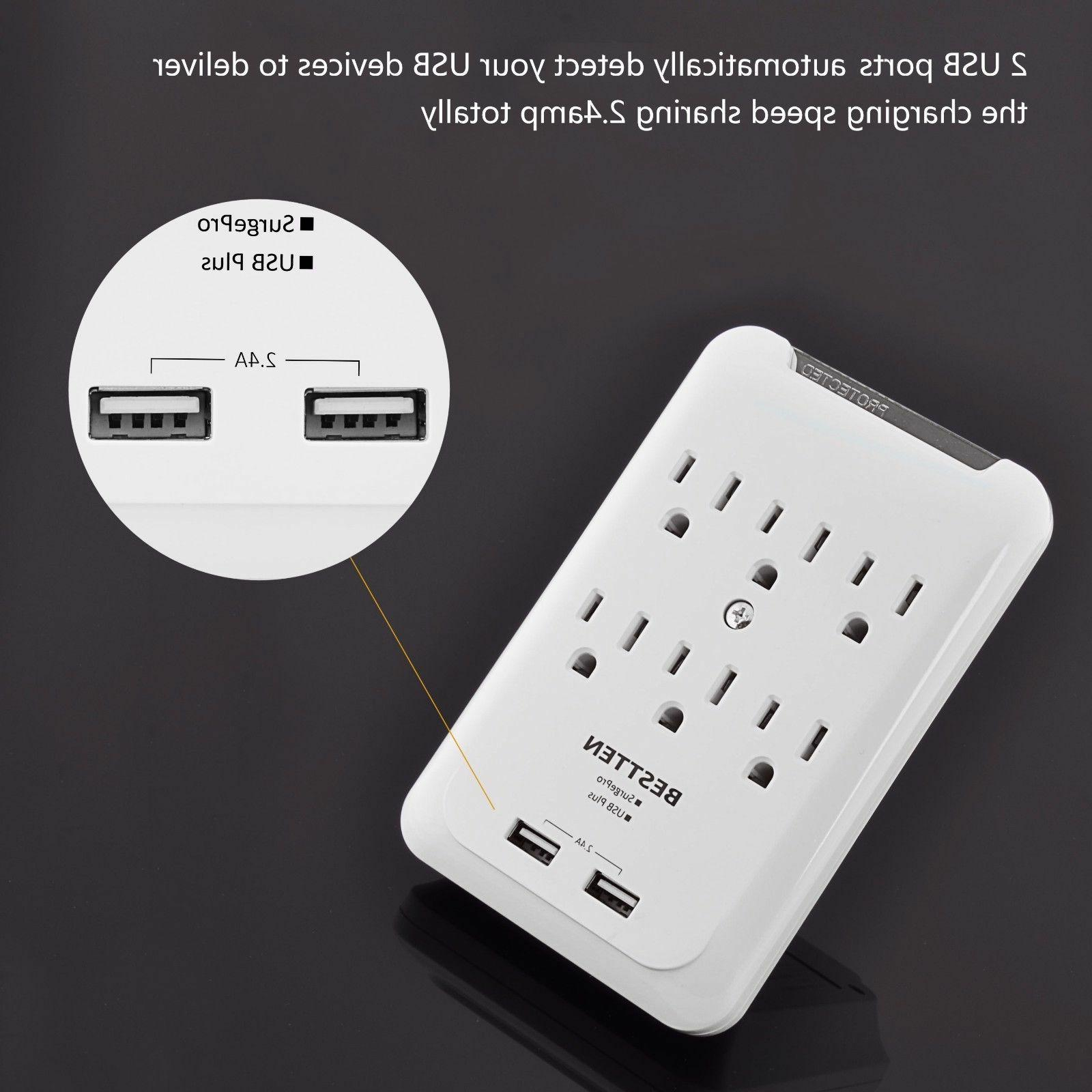 6 Outlet Surge Protector With 2 Ports Wall