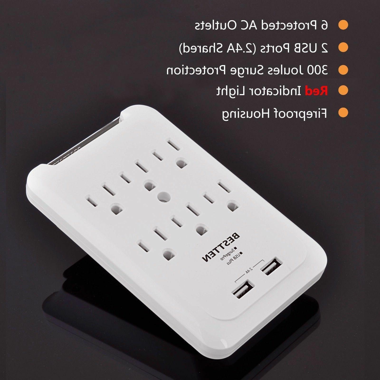 6 Surge With 2 USB Wall Power Plug,