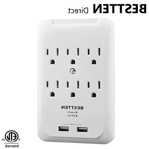 6 outlet surge protector with 2 usb