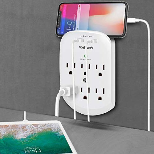 6-Outlet Surge Outlet Power with 2 USB Charging Ports A, 490 Joules, Certified-White