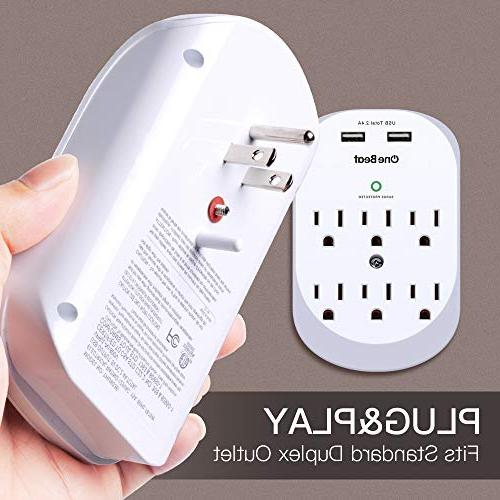 6-Outlet Surge Outlet Power with USB A, 490 ETL Certified-White
