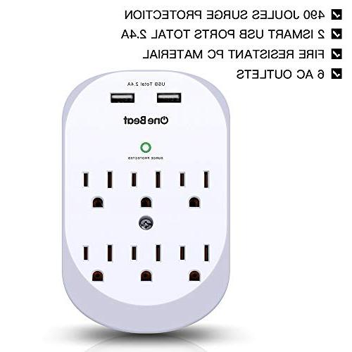 6-Outlet Surge Outlet Wall Power Strip USB A, Joules, ETL Certified-White