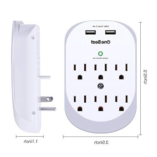 6-Outlet Protector Power Strip 2 USB A, Joules, Certified-White