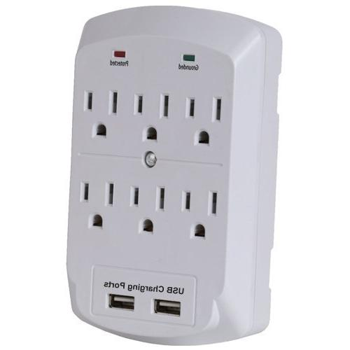 6 Outlets 2 USB Ground Protector Indoor AC Wall Adapter