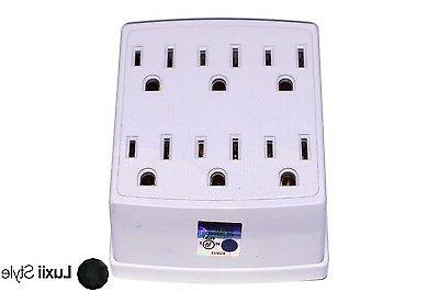 6 Outlet Wall Plug Adapter Adaptor Tap 125v 1875 Watts 15 Am