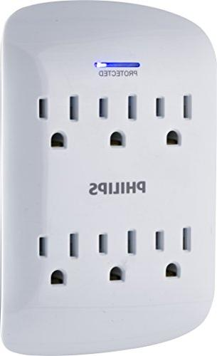 Philips Surge Protector Tap Power Strip, Indicator Light, AC, 15A, ETL Listed, and White Finish,