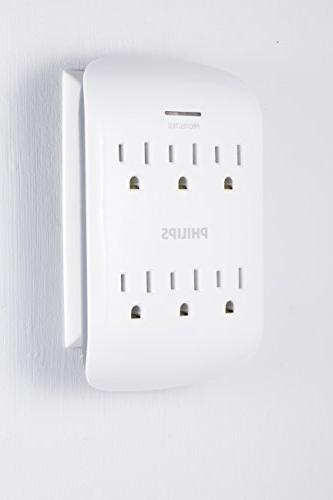 Philips Surge Protector Adapter, Tap Power Indicator 15A, ETL White Finish,