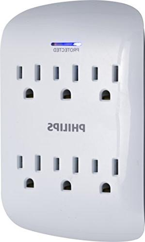 Philips Outlet Protector Wall Indicator 15A, 1875W, 900 Joules, ETL Listed, White