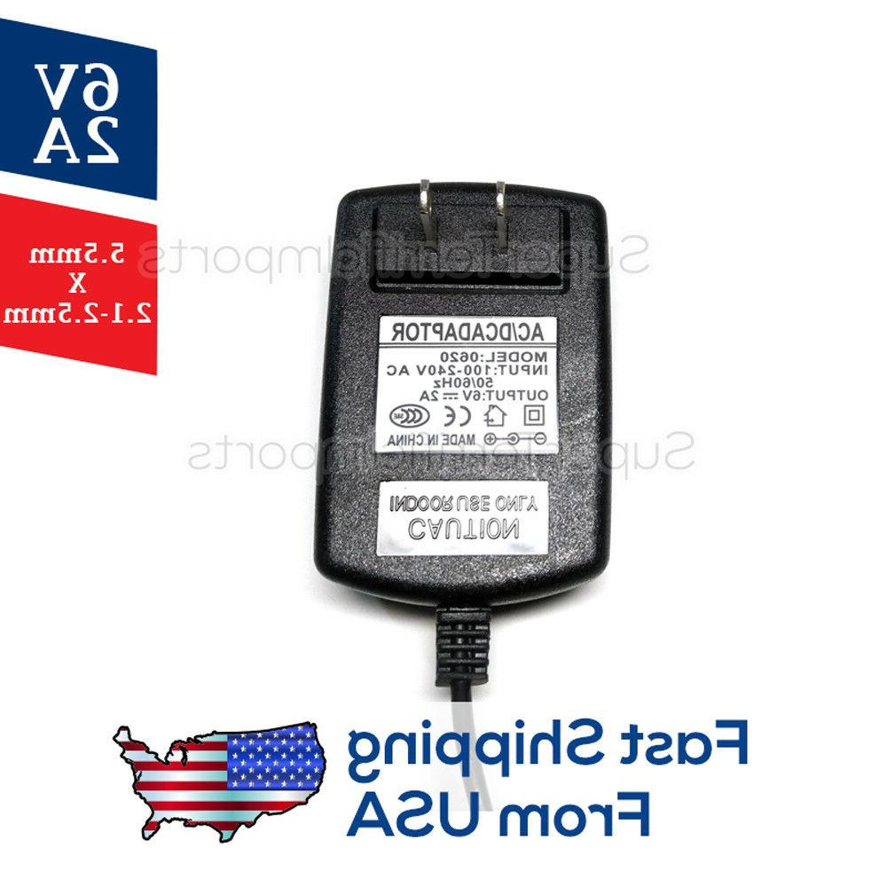 6V 2A Supply Adapter, Charger, AC Transformer 5.5mm 2.1-2.5mm 1A