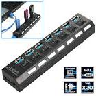 7 Port USB 3.0 Hub On/Off Switches + AC Power Adapter Cable