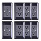 8 Pack Power Adapter Black Wall Outlet With Dual USB Port Ch