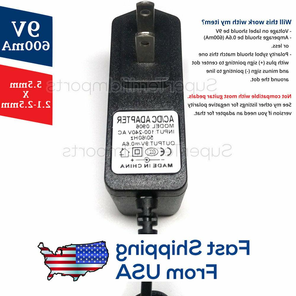9V 0.6A Power Adapter DC 5.5mm 2.1-2.5mm 600mA 400mA 500