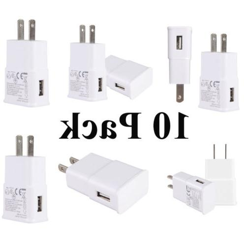 Lot 10 Pack USB Power Adapter AC Home Wall Charger For Samsu