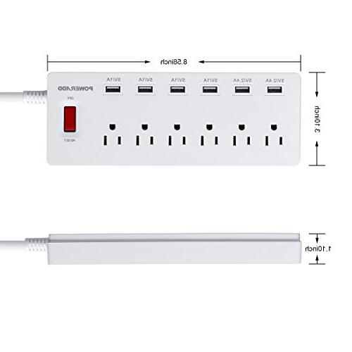 Poweradd Surge Protector 6 USB Ports , USB for & White