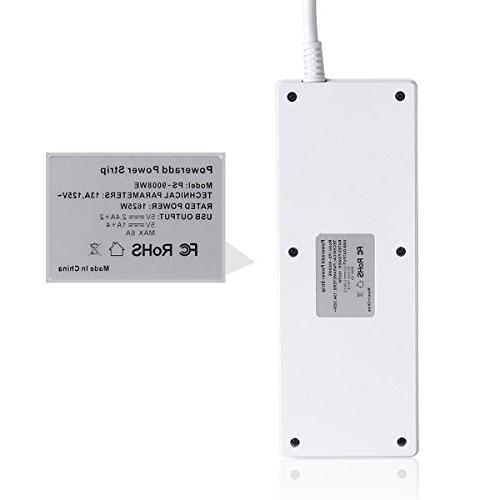 Poweradd Strip Protector 6 Smart USB Duty Extension USB Home &