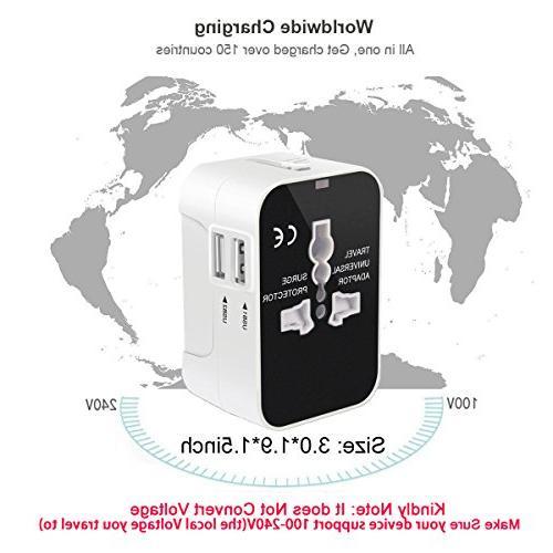 Travel in Universal Power International Wall Adapter Dual USB Charging Ports EU AUS Phone