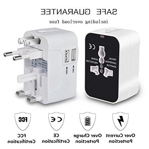 Travel Adapter, Worldwide All in One Universal Travel International Adapter Dual Charging for USA EU UK AUS Phone