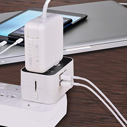 Travel Adapter, Worldwide in Power International Wall Charger Outlet Charging Phone Laptop