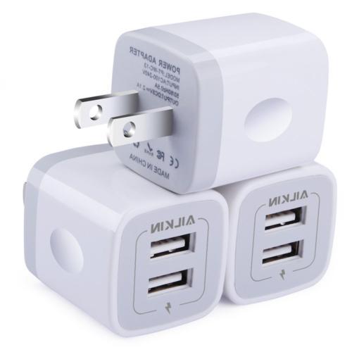 Wall Charger,  5V/2.1AMP Ailkin 2-Port USB Home Travel Plug