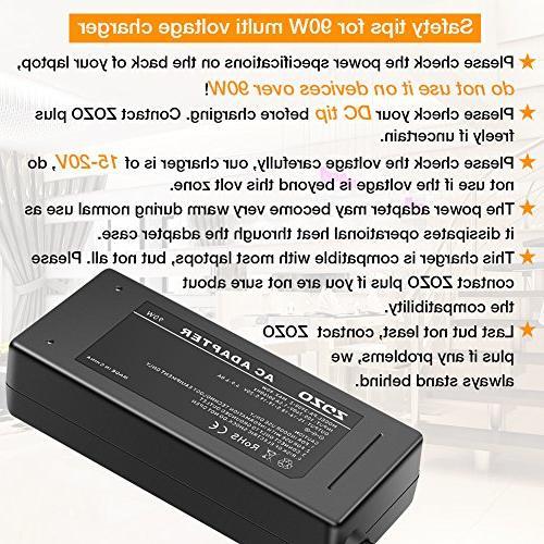 ZOZO 90W Laptop Charger HP Dell Lenovo Acer Sony Fujitsu Gateway Chromebook DC Output 15V 16V 18.5V 20V Adapter Cord