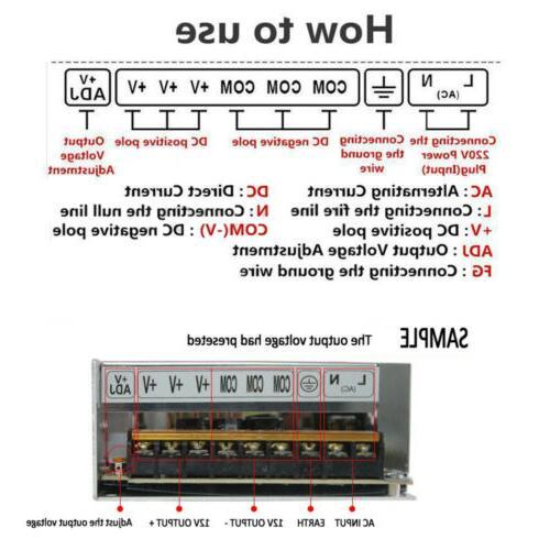 AC 110V-220V TO DC 12V Power Supply Driver Adapter Light