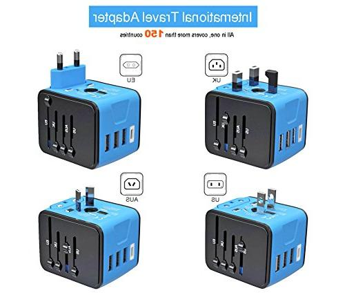 Travel Adapter, Power High Speed 2.4A USB 3.0A Type European Adapter, Universal Power Adapter Charger UK US AU
